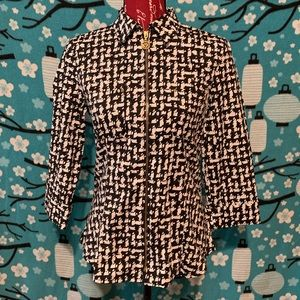 Anne Klein zippered blouse small